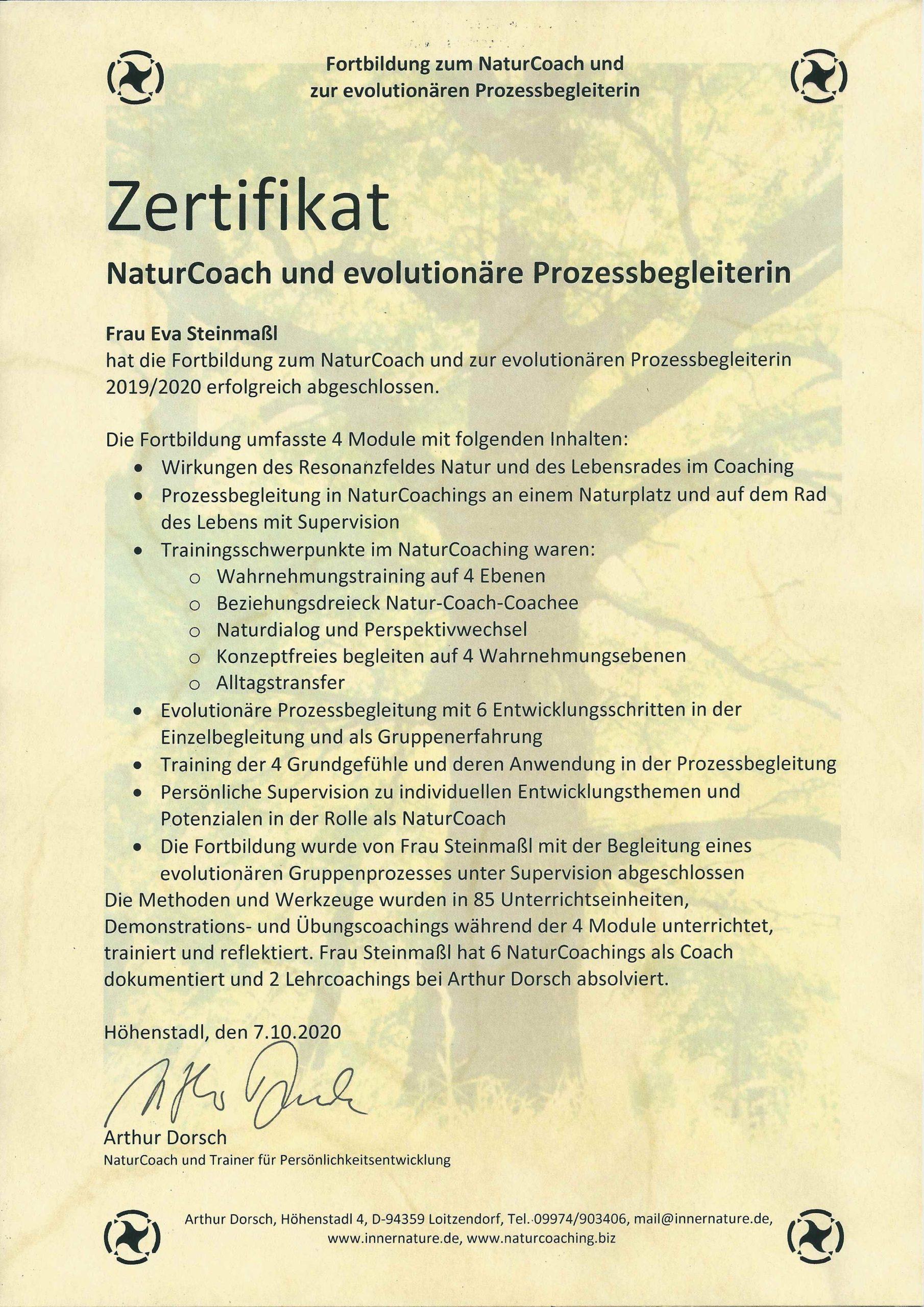 Zertifikat Natur Coach